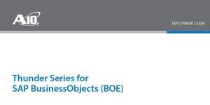 SAP BusinessObjects (BOE) Deployment Guide