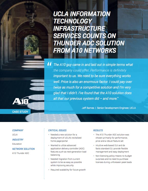 UCLA Case Study, IT Infrastructure Services Count on Thunder Application Delivery Controller