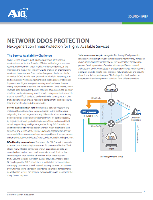 Network DDoS Protection Solution Brief