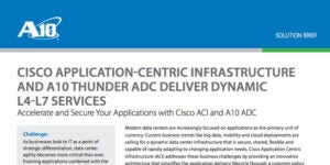CISCO APPLICATION-CENTRIC INFRASTRUCTURE AND A10 THUNDER ADC DELIVER DYNAMIC L4-L7 SERVICES