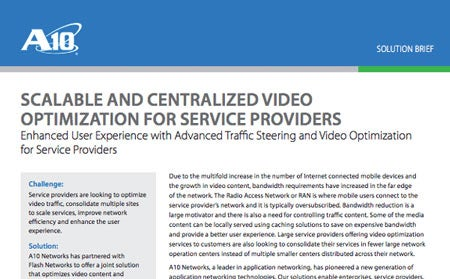 Scalable and Centralized Video Optimization for Service Providers Solution Brief