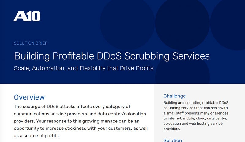 Building Profitable DDoS Scrubbing Services Solution Brief