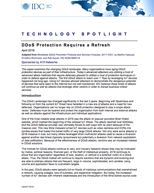 IDC: DDoS Protection Requires a Refresh