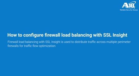 configure firewall load balancing with SSL insight