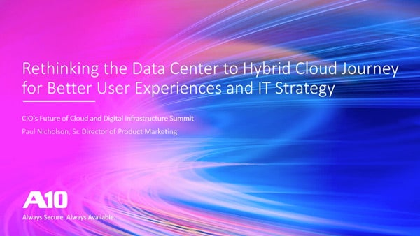 The Data Center to Hybrid Cloud Application Delivery Journey